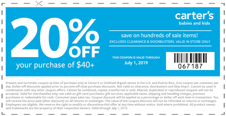 Save 20% Off Your In-Store Purchase of $40+ at Carter's