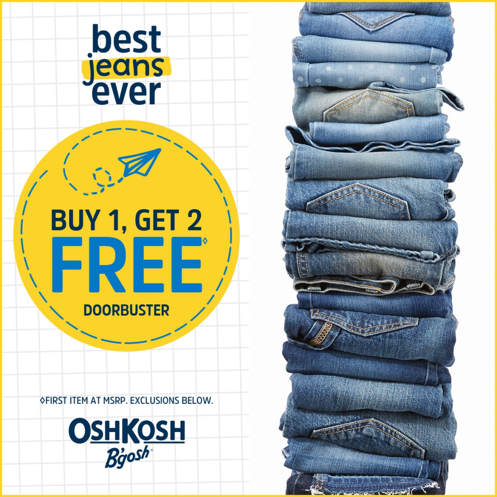 Best Jeans Ever Sale at OshKosh - Buy 1 Get 2 Free