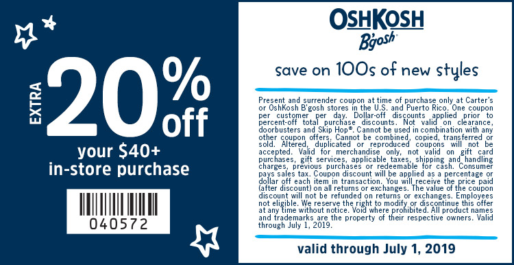 Save 20% Off Your In-Store Purchase of $40+at OshKosh B'gosh!